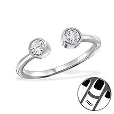 TJS 925 Sterling Silver Midi Ring Clear CZ Size 3.5 Adjustable Fine Jewellery