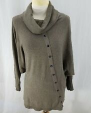 Mallie Girls Womens Pullover Sweater Brown Cowl Neck Dolman Sleeves Cashmire Ble