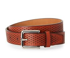 COLE HAAN BELT WASHINGTON GRAND LASER CUT PERFORATED LEATHER IN BRITISH TAN NWT