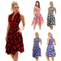 Women Sleeveless Plaid Check Tank Dress Ladies Summer Beach Party Sundress US