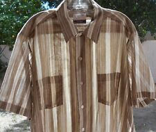 Sovereign Large  16 16 1/2 TALL Button Down Short Sleeve Tan Permanent Press USA