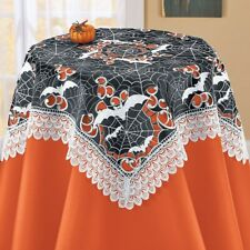 Embroidered Bats and Intricate Spiderwebs Lace Polyester Square Tablecloth