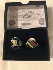 DOUBLE SIDED Polo Ralph Lauren Rugby Oxford Striped Enamel Cufflinks , Gothic R