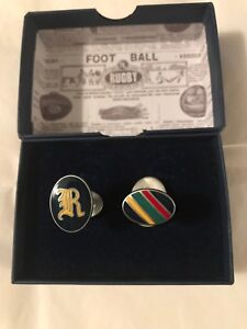 LIMITED-Polo Ralph Lauren Rugby Oxford Striped Enamel Cufflinks , Gothic R BOXED