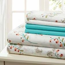Sheet Set Cotton Percale 6 Piece Print Twin Full Queen King Soft