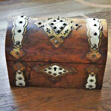Antique Late Georgian Victorian Burl Walnut Veneer Domed Top Tea Caddy Box