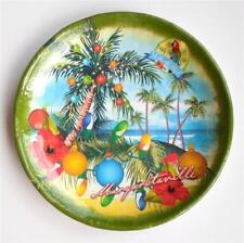 4 Margaritaville Christmas Melamine Side Salad Plate set w/ Palm Tree Ornaments