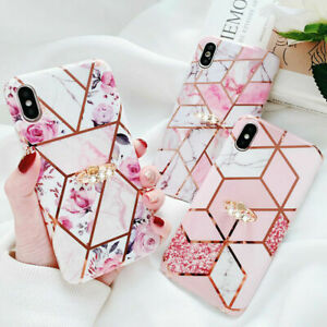 Geometric Marble Case For iPhone 12 11 Pro Max 8 XR Ring Kickstand Holder Cover