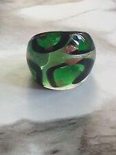 Green &Black Pattern W/ Stardust Lampwork Glass Wide Band Ring Handmade Sz 7-7.5