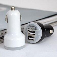 BIANCO CARICABATTERIA DOPPIO USB PER AUTO ADATTATORE PER SAMSUNG/NOKIA/HTC/