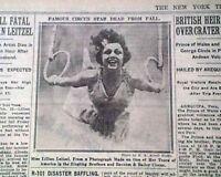 LILLIAN LEITZEL Barnum Circus STAR Acrobat TRAPEZE Star DEATH 1931 Old Newspaper