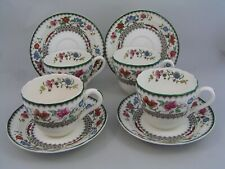 SET OF FOUR SPODE CHINESE ROSE TEA CUPS AND SAUCERS, BLACK BACKSTAMP.