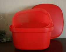 Tupperware  Multi Server Vintage Square Steamer with Insert Microwave Red New