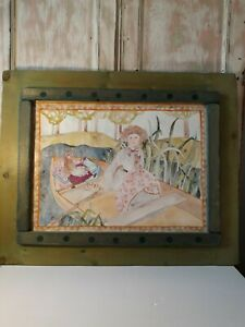 JUDIE BOMBERGER 'CATS IN A BOAT' 1994 WATERCOLOR PRINT w/ ORIGINAL FRAME 31X25.5