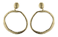 CLIP ON HOOP EARRINGS - antique gold hoop earring - Kama G