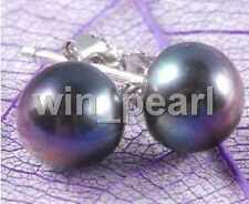 Wholesale 5Color Genuine Natural Akoya Cultured Pearl Silver Stud Earrings AAA+