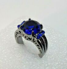 Cushion Cut Created Sapphire Solitaire With Accents Ring Size 5 1/2