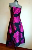 Slate Willow Womens Strapless Aline Dress Black Reflective Purple Flowers Size 8