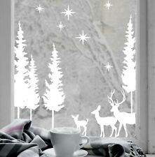 Christmas Stag Forest Tree White Non Sticky Cling Vinyl Window Decal Decoration