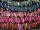 """Natural Druzy Quartz Crystal Titanium Coated Stick Poined Drilled Beads New 16"""""""
