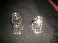 """Vtg Glass Doggies Candy Containers CHILD'S Figural HOUNDS~LOT OF TWO~3 7/8"""" & 3"""""""