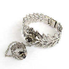 Rose Flower Leaf Bangle Bracelet Chain Ring Buy One Get One Free, Alloy Metal