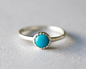 Dainty 925 Sterling Silver Bohemian Stacking Ring with Bezel Set Turquoise Stone