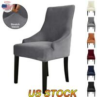 Velvet Wingback Chair Cover Arm Chair Protector Stretch Dining Seat Slipcover US