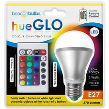 3W Colour Changing LED 270 Lumen E27 Screw In Bulb Mood Night Light With Remote