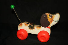Vintage Fisher Price Little Snoopy Dog Wood Pull Toy 693
