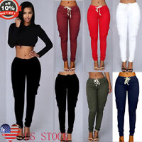 S-4XL Women Cargo Pants High Waist Jogger Skinny Long Trousers Lace Up Sweatpant
