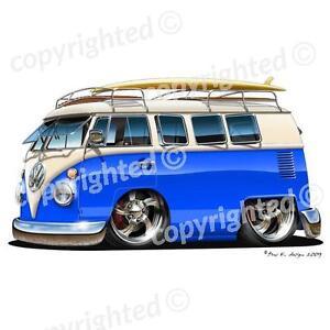 VW Camper Van - Vinyl Wall Art Sticker - Blue/White