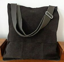 Large brown suede shoulder bag tote