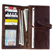 Women's Vintage Genuine Leather Brown Long Wallet Clutch Card Holder Money Clip