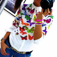 Women Summer Long Sleeve Chiffon Butterfly Blouse Tops Ladies Casual T-shirt