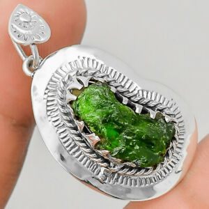 Natural Chrome Diopside Rough 925 Sterling Silver Pendant Jewelry E657