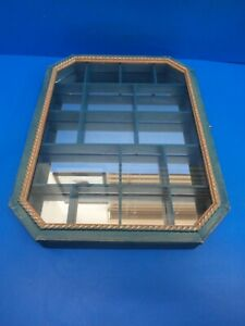 MIRROR BACKED DISPLAY CABINET - 17 COMPARTMENTS  NICK NACKS THIMBLES ETC