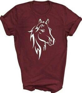 Horse Silhouette T-shirt Horse's Head Tshirt Horse Riding Pony Adult SM - XXXL