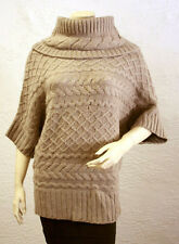 $278 BCBG HTHER BROWN STONE (EAE1H621) COWL-NECK CABLE WOOL SWEATER TOP NWT XXS