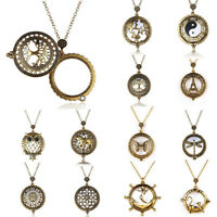 Fashion Bronze Magnifier Glass Chain Pendant 5X Magnifying Necklace Grandma