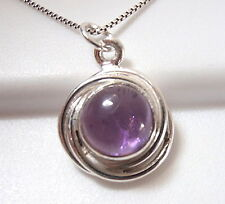 Small Amethyst Cabochon 925 Sterling Silver Pendant with Swirled Border New