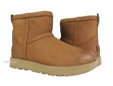 UGG Classic Mini Leather Waterproof Chestnut Fur Boots Womens Size 8 *NIB*