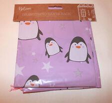 2 Pack Large Drawstring Christmas Santa Sacks Stocking Bag Gift PINK PENGUIN