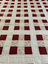 Vintage Handmade Hand Stitched & Quilted Red & White 9 Patch Quilt w Provenance