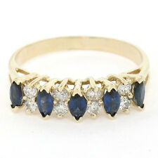 14K Yellow Gold .98ctw Marquise Sapphire & Round Diamond Pyramid Band Ring