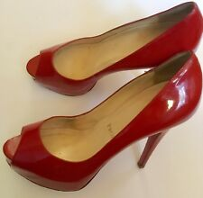 Christian Louboutin Red Leather Platform Open Toe Heels (38)