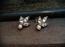 Vintage Navette/ Marquise Crystal and Pearl Pierced Earrings