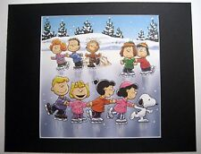 SCHROEDER~PIG PEN~MARCI~PEPPERMINT PATTY~11x14 Mat Print~ICE SKATING PARTY~NEW