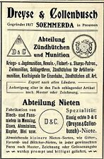 Dreyse & collenbusch sommerda guerre et piombi historiques publicitaires 1908