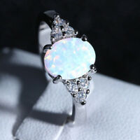Fire Opal Ring in 925 Genuine Sterling Silver Gemstone Jewelry Ring Size 6 7 8 9